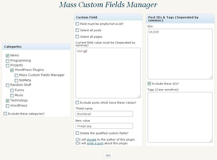 Custom Fields Manager
